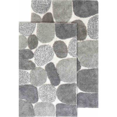 "2 Piece Pebbles Bath Rug Set - 21""x34"" & 24""x40"" - Grey"