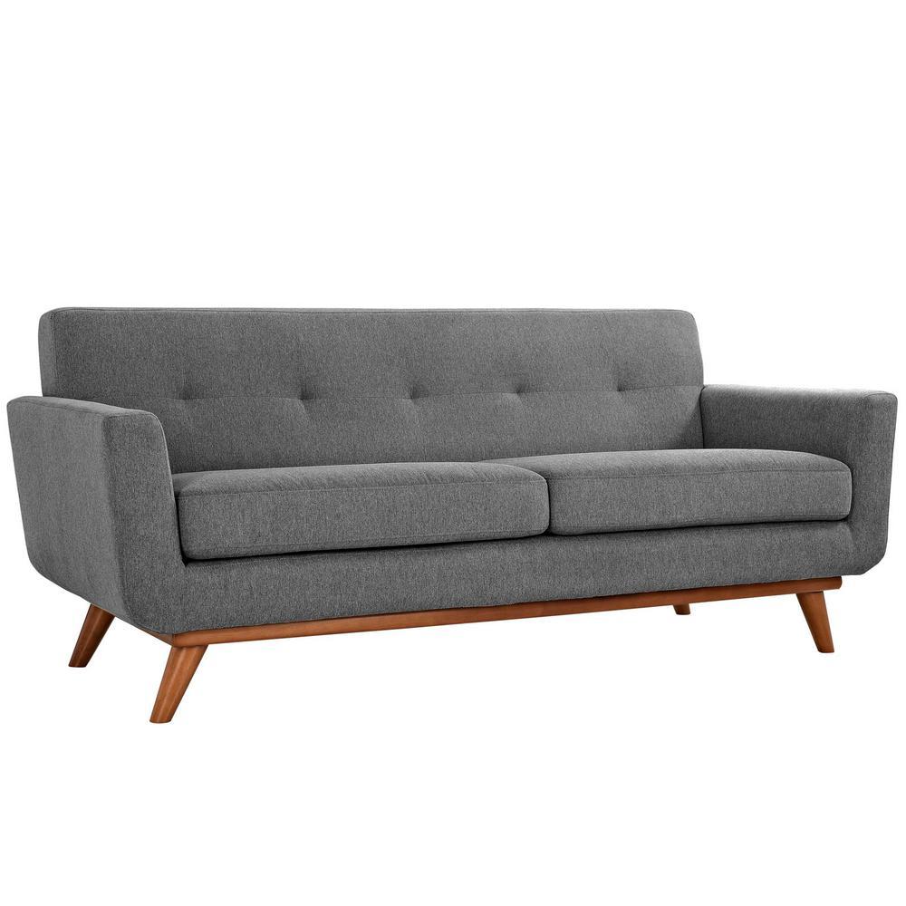 Engage Expectation Gray Upholstered Fabric Loveseat
