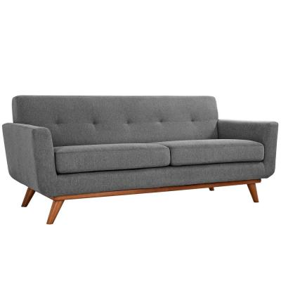 Engage 78 in. Expectation Gray Polyester 2-Seater Loveseat with Wood Legs