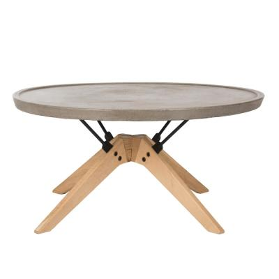 Bryson Dark Gray Round Stone Indoor/Outdoor Coffee Table