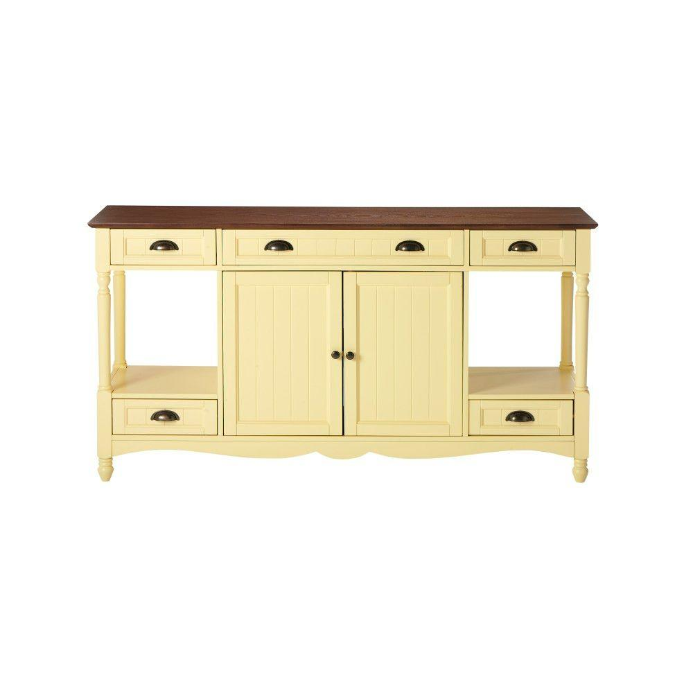 Home Decorators Collection Southport 58 in. W Buttercup and Oak Buffet