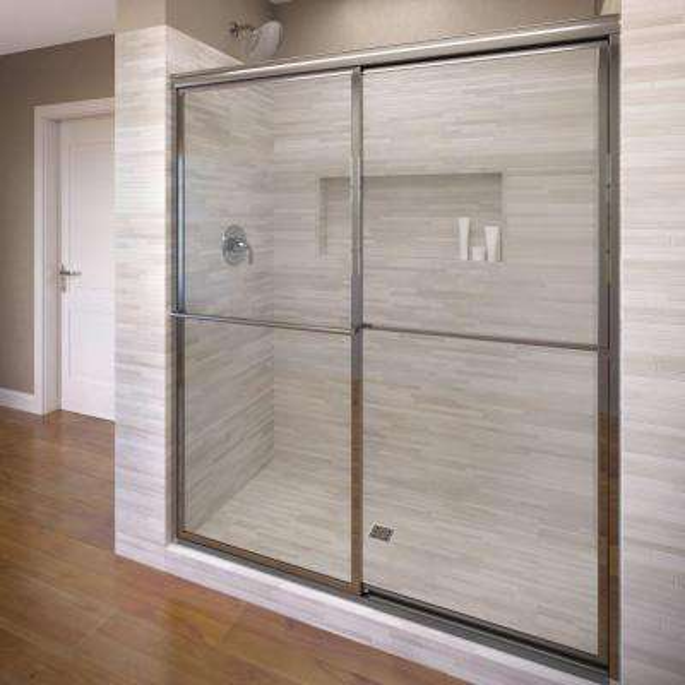 Deluxe 47 in. x 71-1/2 in. Clear Framed Sliding Shower Door in Silver