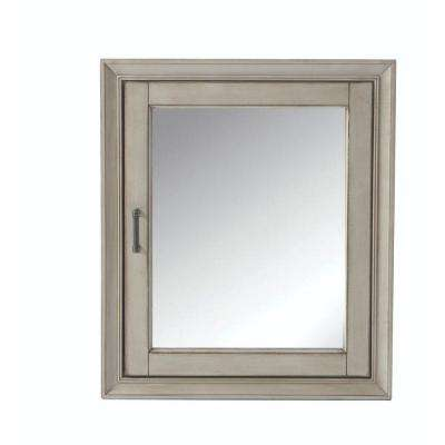 Hazelton 24 in. W x 28 in. H Framed Surface-Mount Bathroom Medicine Cabinet in Antique Grey