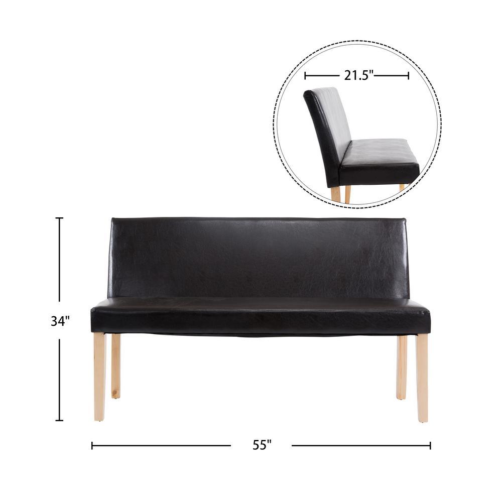 Edison Black Faux Leather Wood Frame Bench Sofa