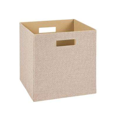 13 in. H x 13 in. W x 13 in. D Decorative Fabric Storage Bin in Tan