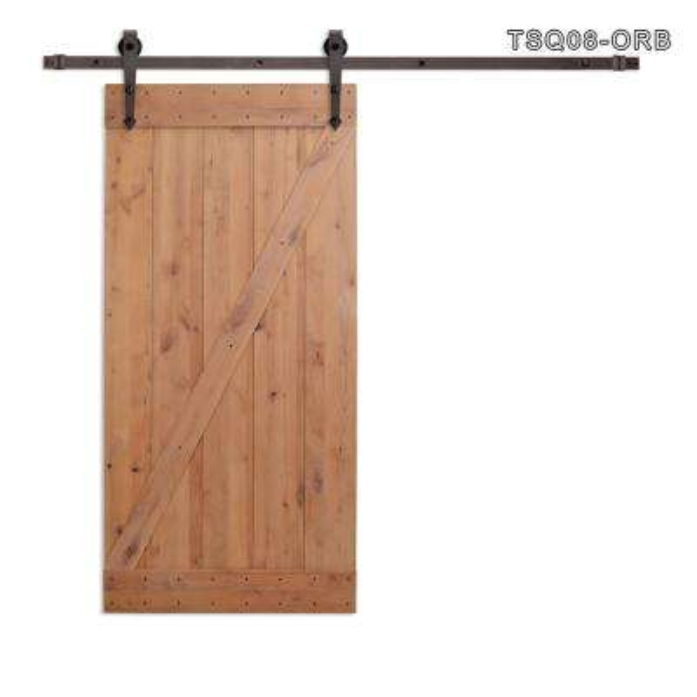 36 in. x 84 in. Z Bar 1-Panel Primed Natural Wood Finish Sliding Barn Door with Sliding Door Hardware Kit