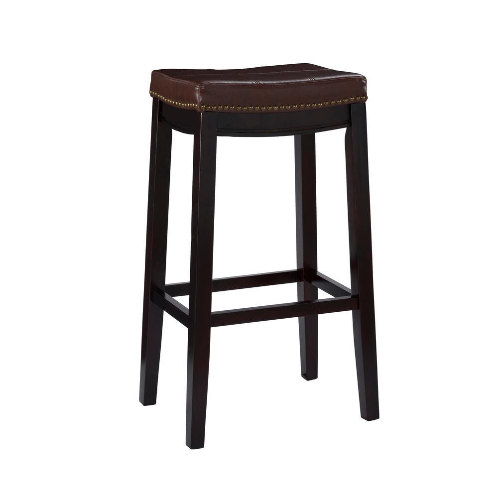 Linon Home Decor Claridge 32 In Dark Brown Cushioned Bar Stool