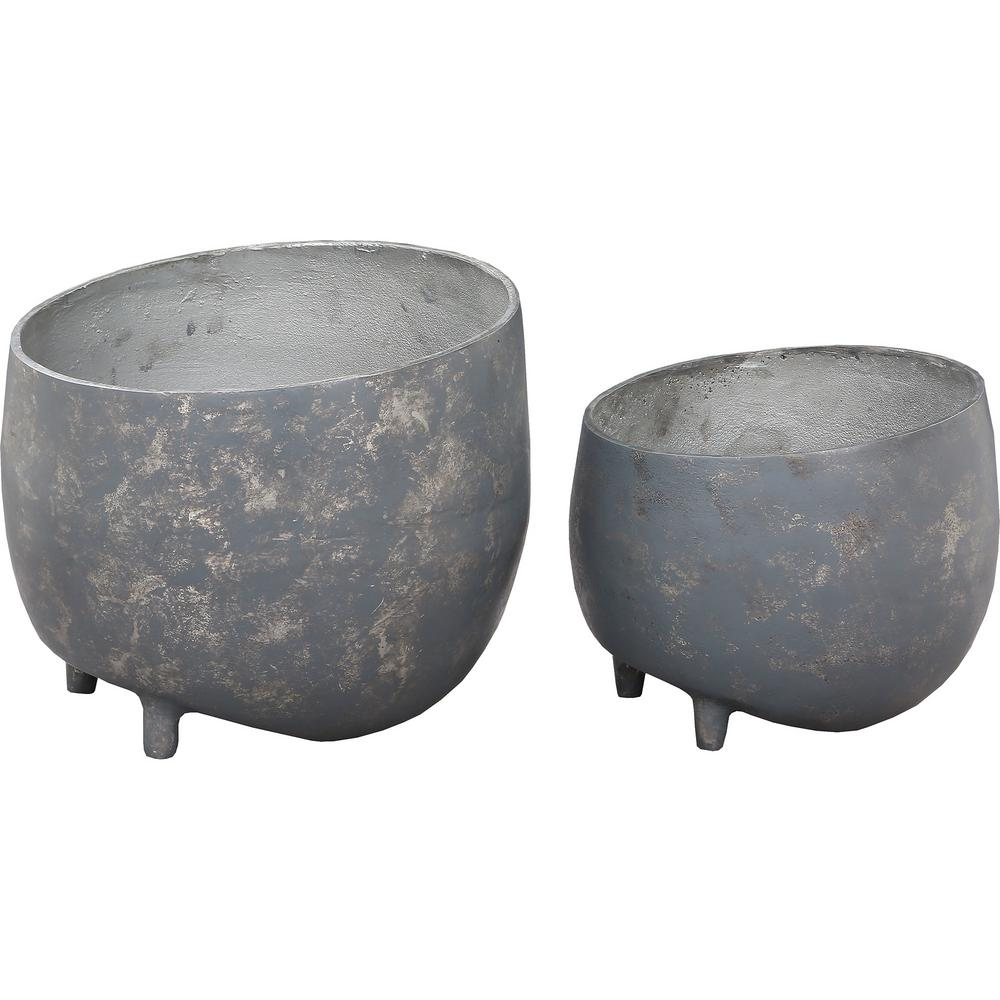 Declan 10 in. x 12 in. Distressed Cement Aluminium Planter (Set of 2)