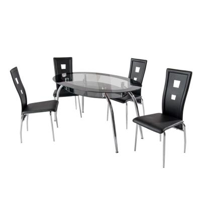 Home Source Square Brookview Black Leather Chrome Chairs (Set of 4)