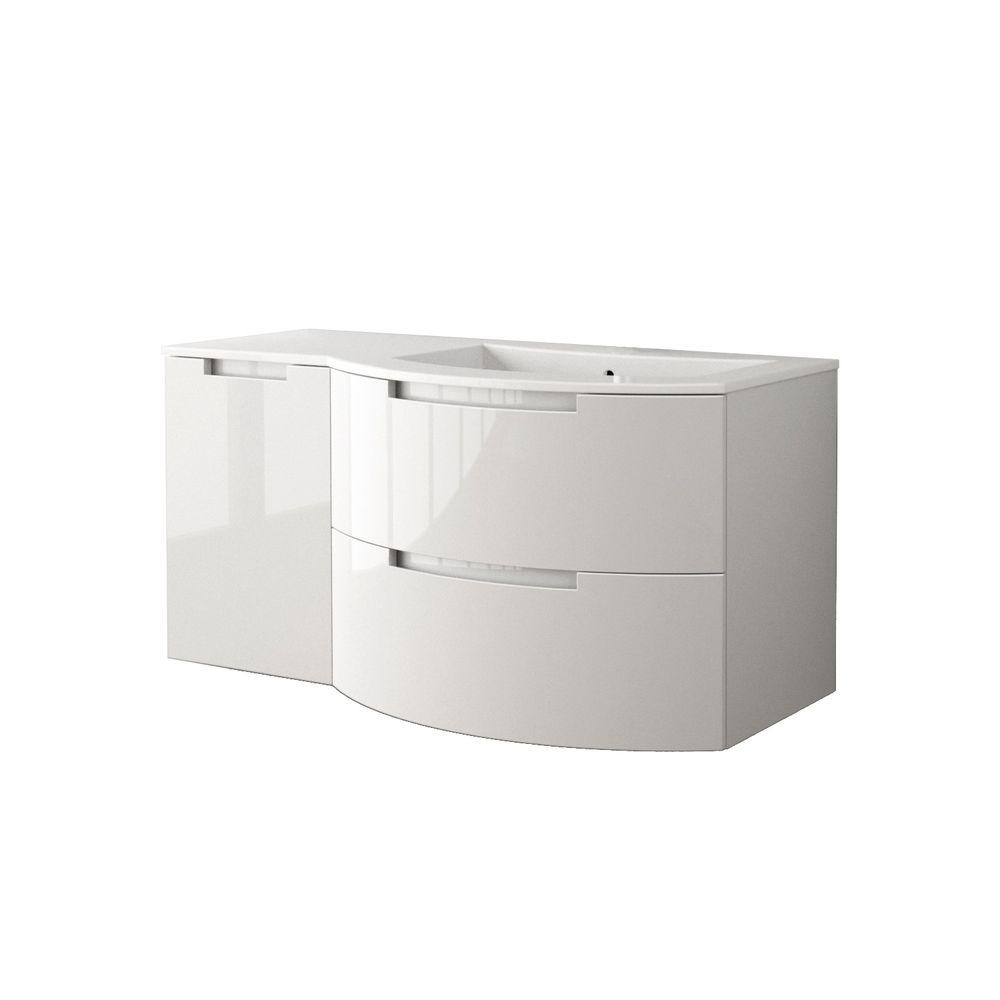 LaToscana Oasi 53 in. Bath Vanity in Glossy White with Tekorlux Vanity Top in White with White Basin