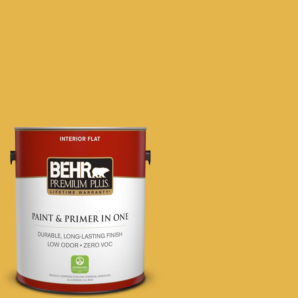 BEHR Premium Plus 1-gal. #360D-6 Yellow Gold Zero VOC Flat Interior Paint