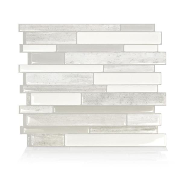Milano Fabrini 11.55 in. W x 9.63 in. H Taupe Peel and Stick Decorative Mosaic Wall Tile Backsplash (4-Pack)