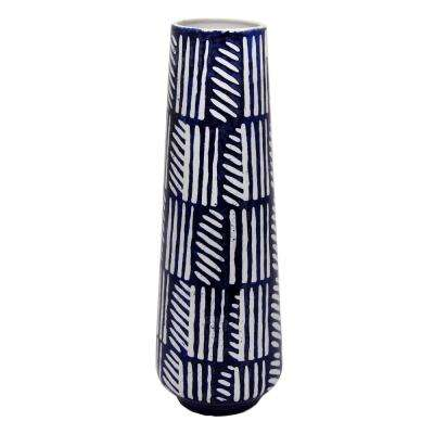 10 in. Decorative Blue and White Ceramic Decorative Vase with Glossy