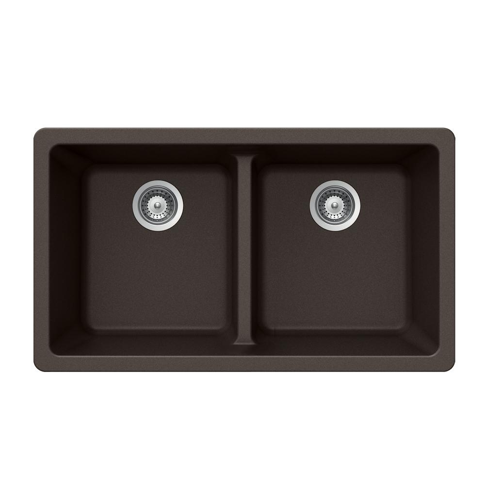 Houzer Quartztone Undermount Composite Granite 33 in. Double Bowl Kitchen Sink in Mocha