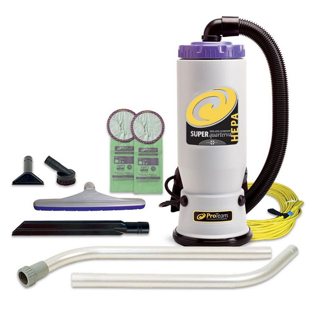 ProTeam Super QuarterVac 6 Qt. Backpack Vacuum Cleaner with Xover Multi-Surface 2-Piece Wand Tool Kit