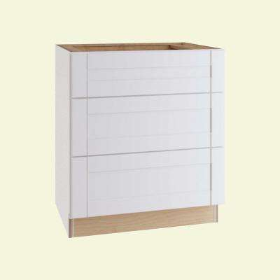 Vesper White Shaker Assembled Plywood 30 in. x 34.5 in. x 24 in. Base Drawer Kitchen Cabinet with Soft Close
