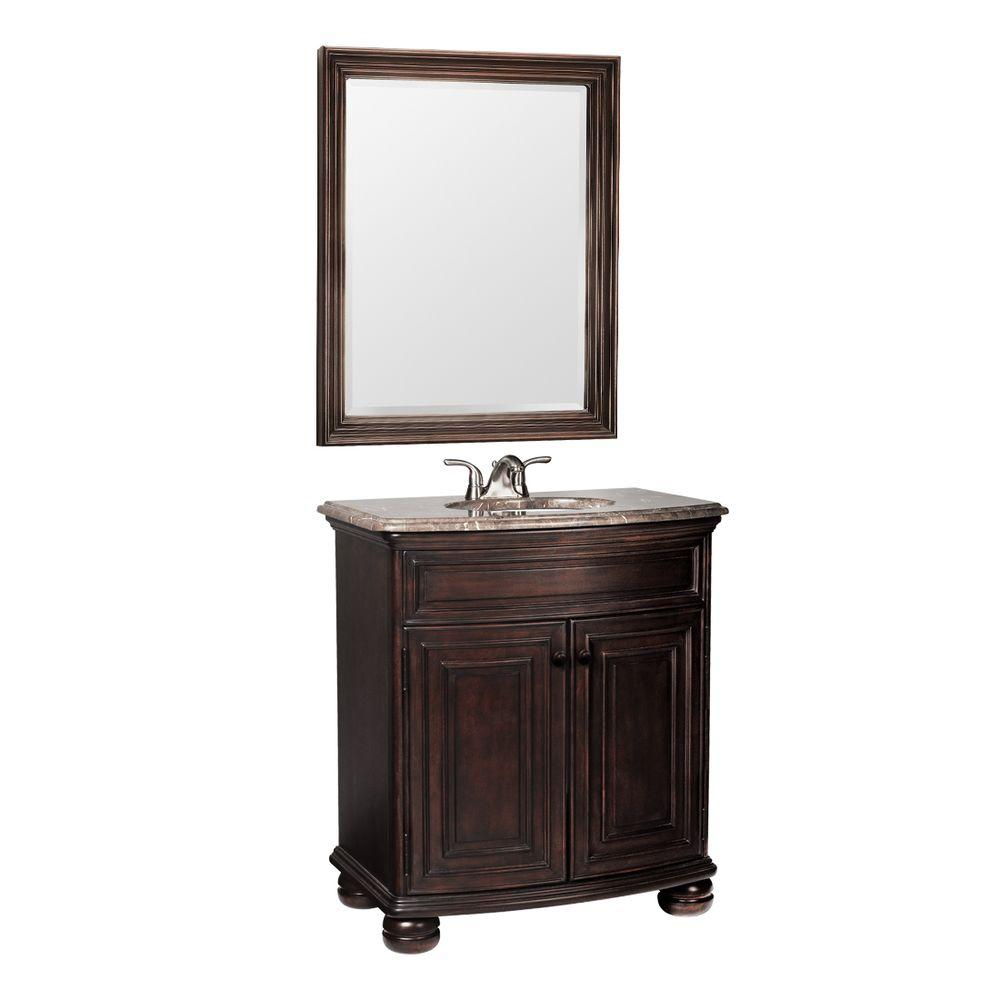null Celeste 31 in. W x 20.25 in. D Basin Vanity in Java with Hand-Crafted Stone Vanity Top in Cocoa & Mirror-DISCONTINUED