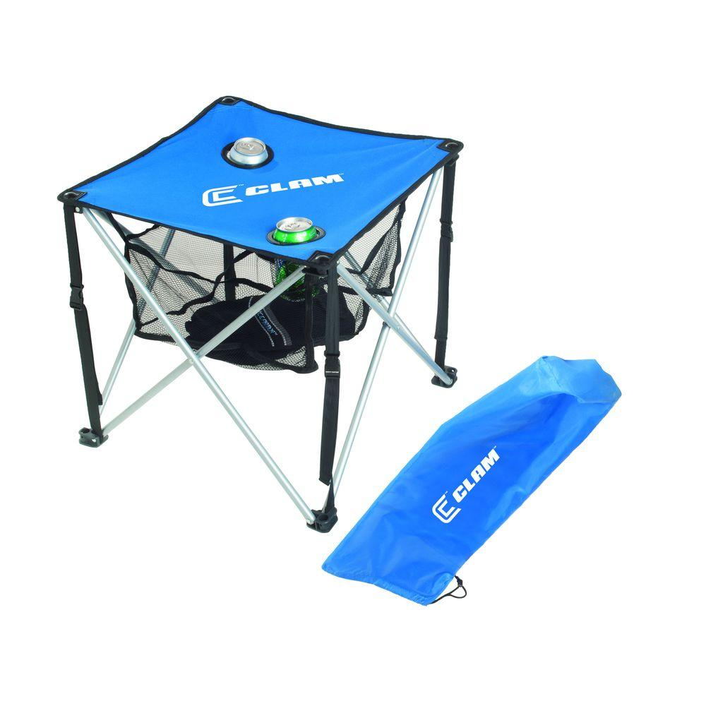 Clam Ultra-Light Folding Ice Fishing Table Blue with Black Trim