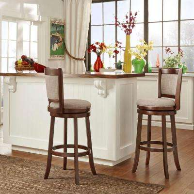 29 in. Ashbury Gray Swivel Cushioned Bar Stool