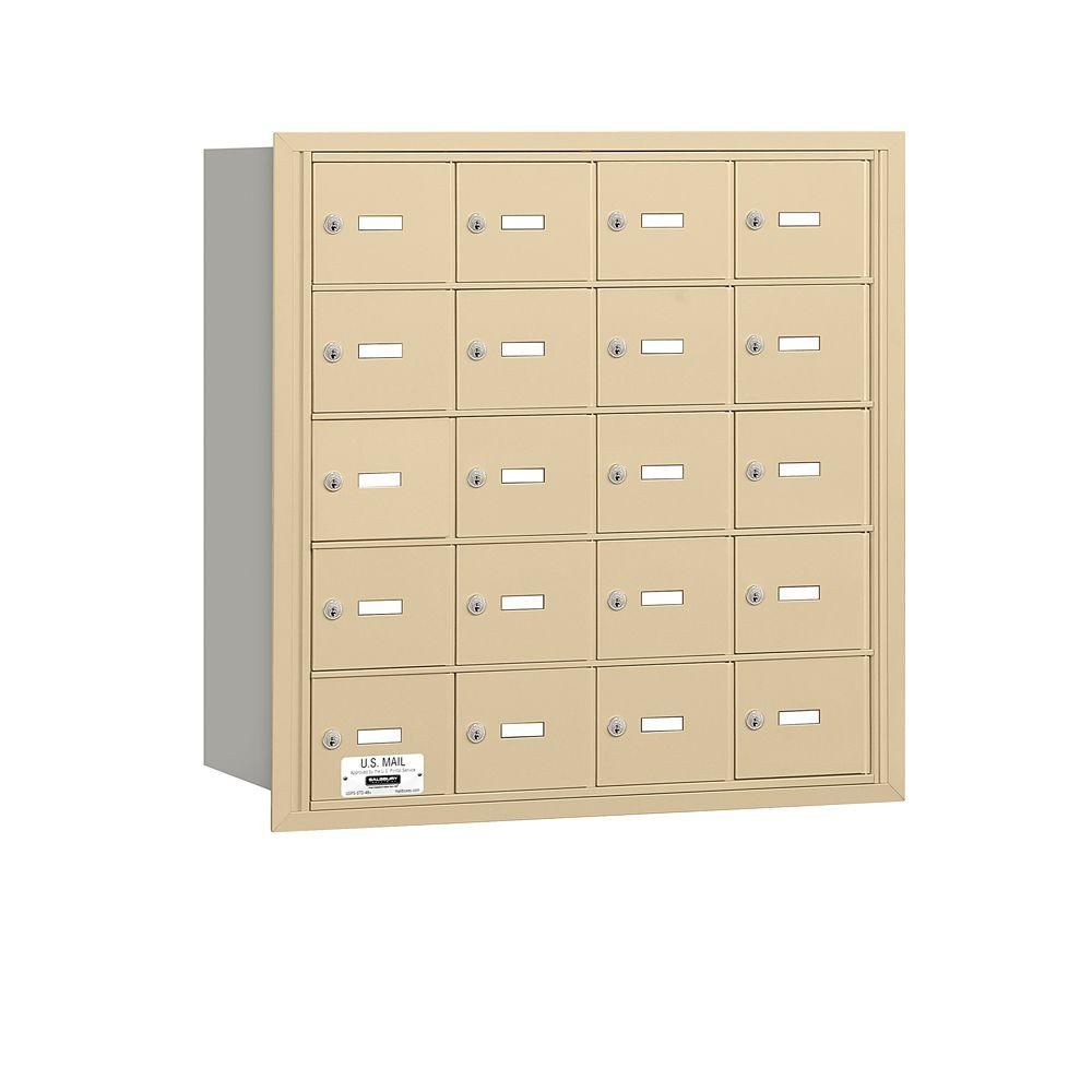 Salsbury Industries Sandstone USPS Access Rear Loading 4B Plus Horizontal Mailbox with 20A Doors