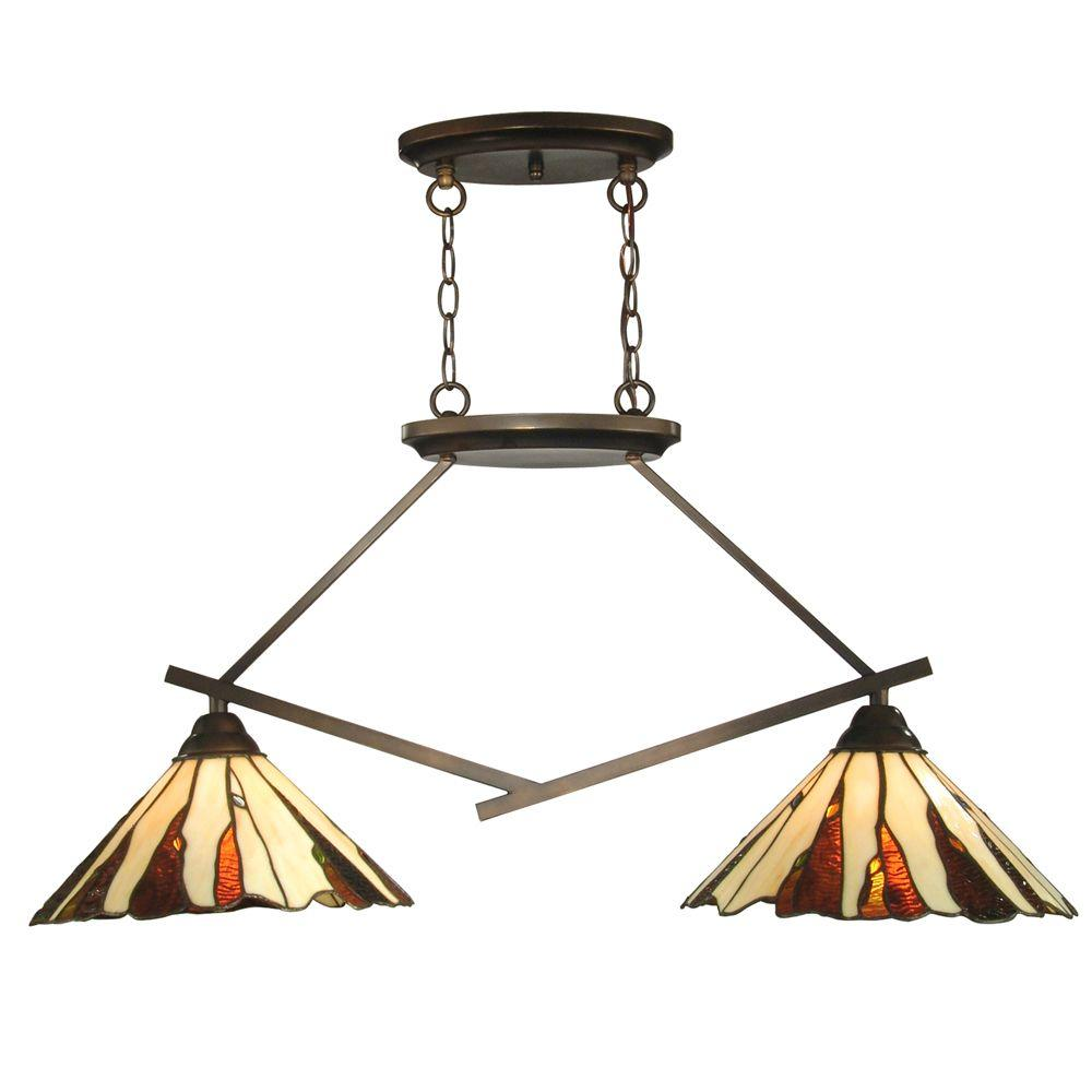 Dale Tiffany Ripley 2 Light Copper Bronze Island Fixture