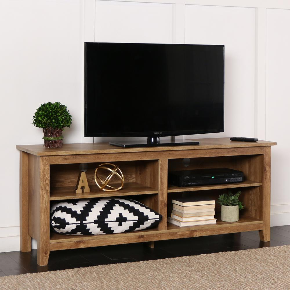 Perfect Walker Edison Furniture Company Essential Barnwood Entertainment  Center HD58CSPBW   The Home Depot