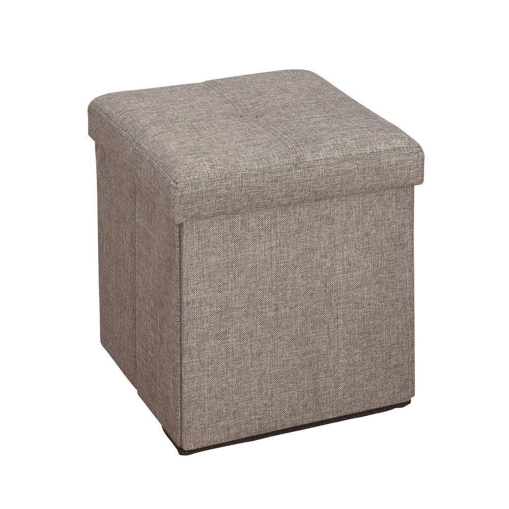 Ottomans Lifestyle Single Ottoman: Simplify Grey Linen Look Single Folding Ottoman-F-0636