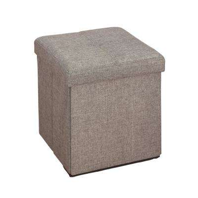 Grey Linen Look Single Folding Ottoman