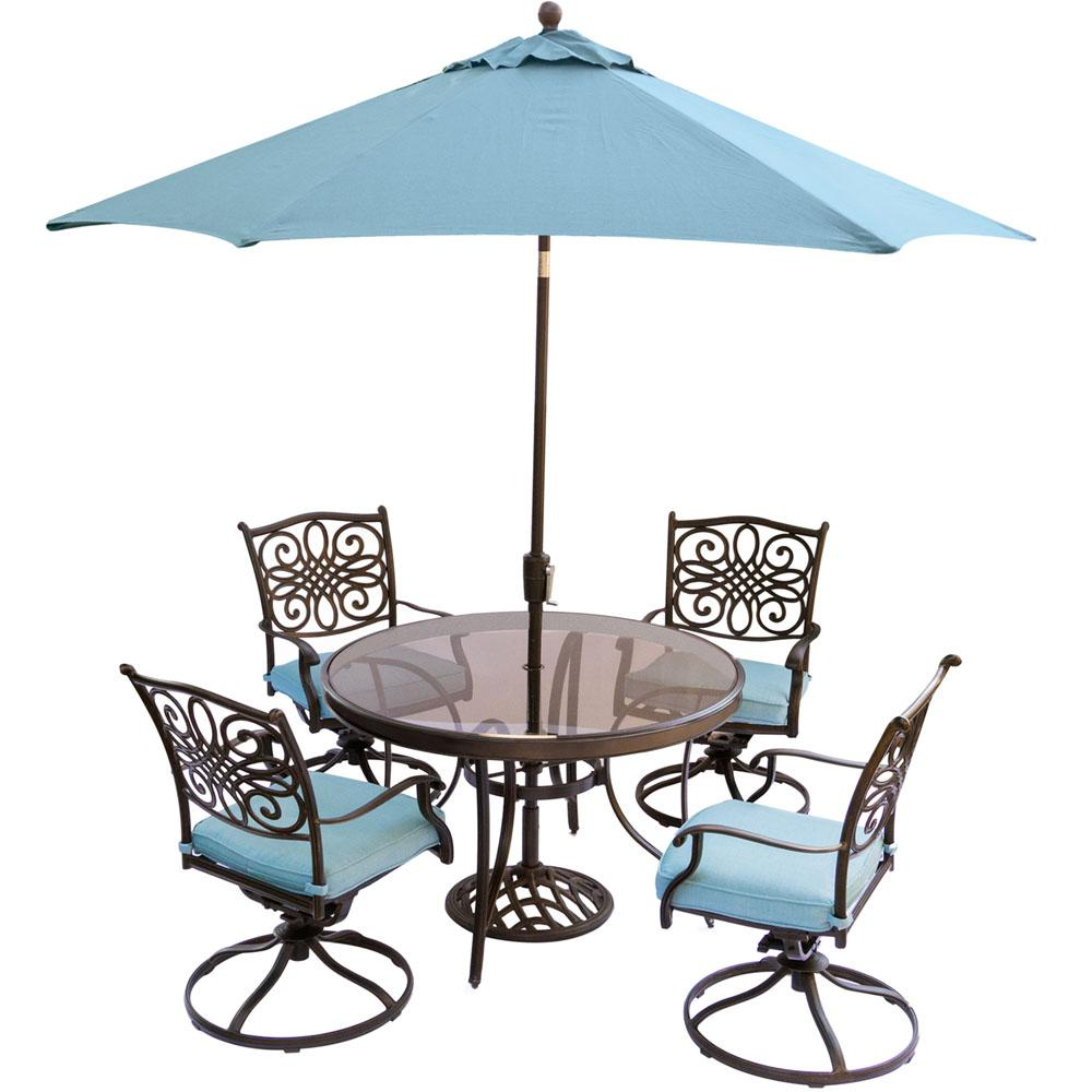 Lovely Hanover Traditions 5 Piece Outdoor Dining Set With Round Glass Table,  Swivel Chairs,