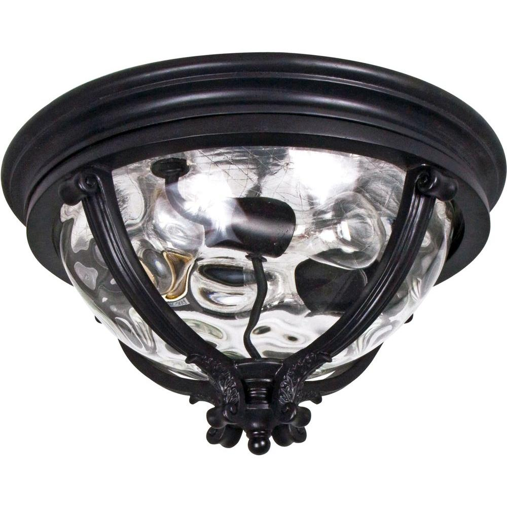Camden VX 3-Light Black Outdoor Flushmount