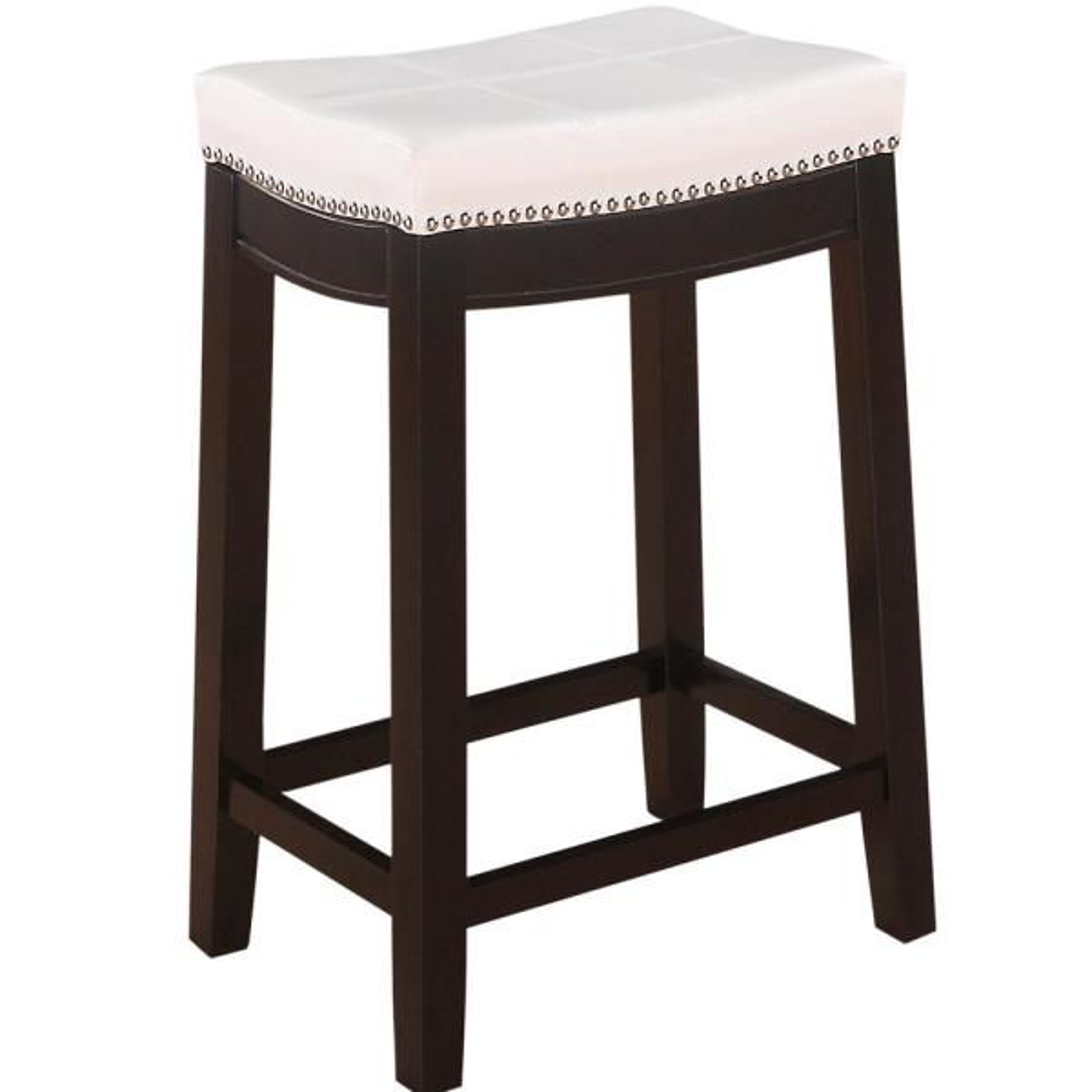 Linon Home Decor Claridge 26 in. White Cushioned Counter Stool