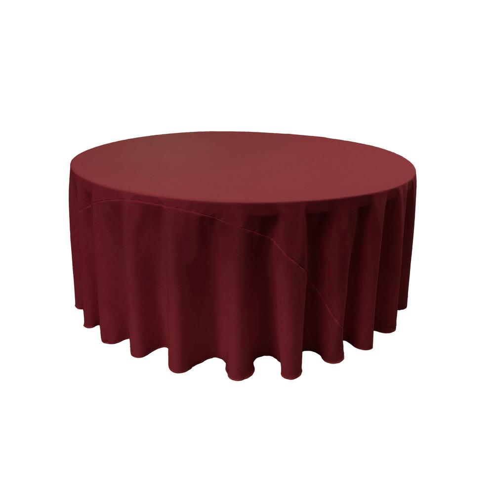 LA Linen 120 In. Burgundy Polyester Poplin Round Tablecloth