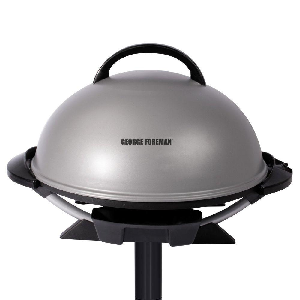 George Foreman Indoor/Outdoor Electric Grill In Platinum