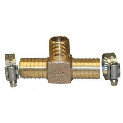 Hydrant Installation Kit contains 1 RBHTNL75 no lead bronze 3/4 in. MIP x INS tee and 2 M67127 SS clamps