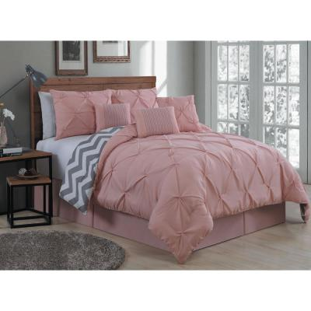 Ella Pinch Pleat Blush King Reversible Comforter with Bedskirt