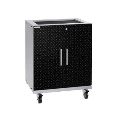 Performance Plus Diamond Plate 2.0 28 in. W x 35.5 in. H x 22 in. D Steel Garage Freestanding Base Cabinet in Black