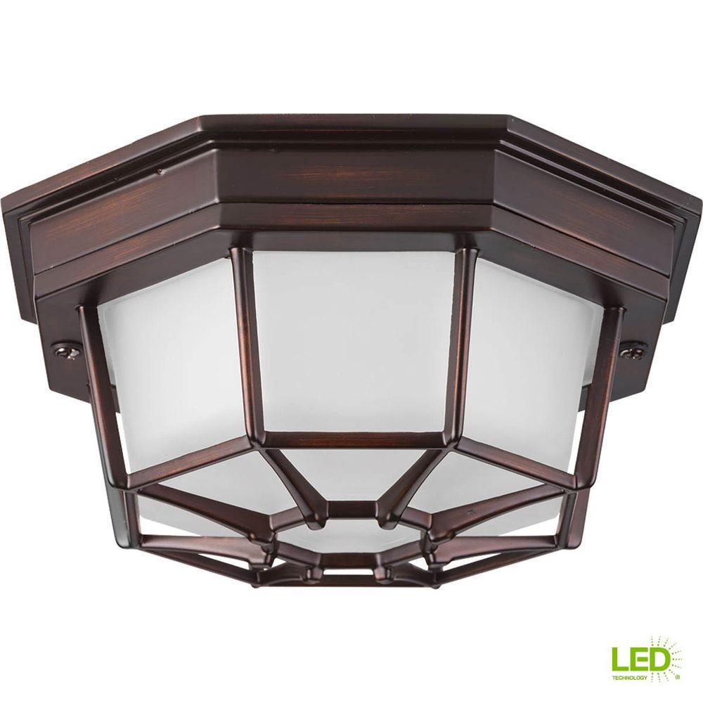 Milford LED Collection 1-Light Antique Bronze LED Outdoor Flushmount
