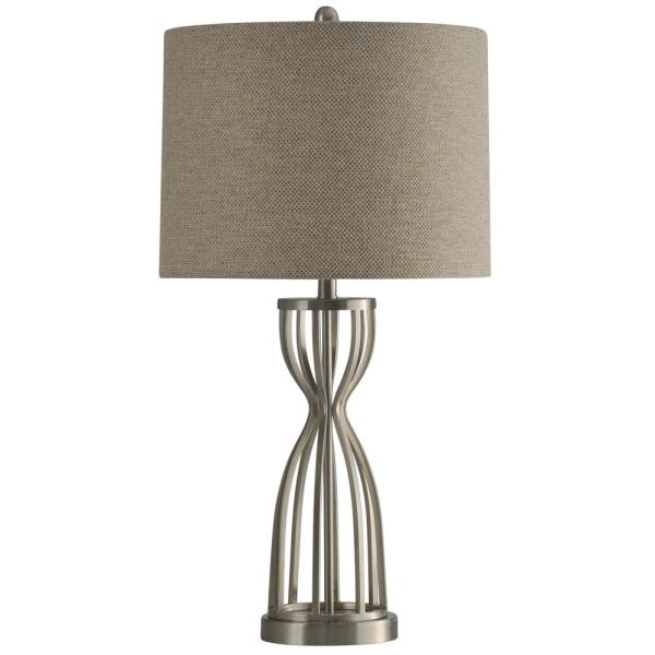 32.5 in. Brushed Steel Table Lamp with Beige Hardback Fabric Shade