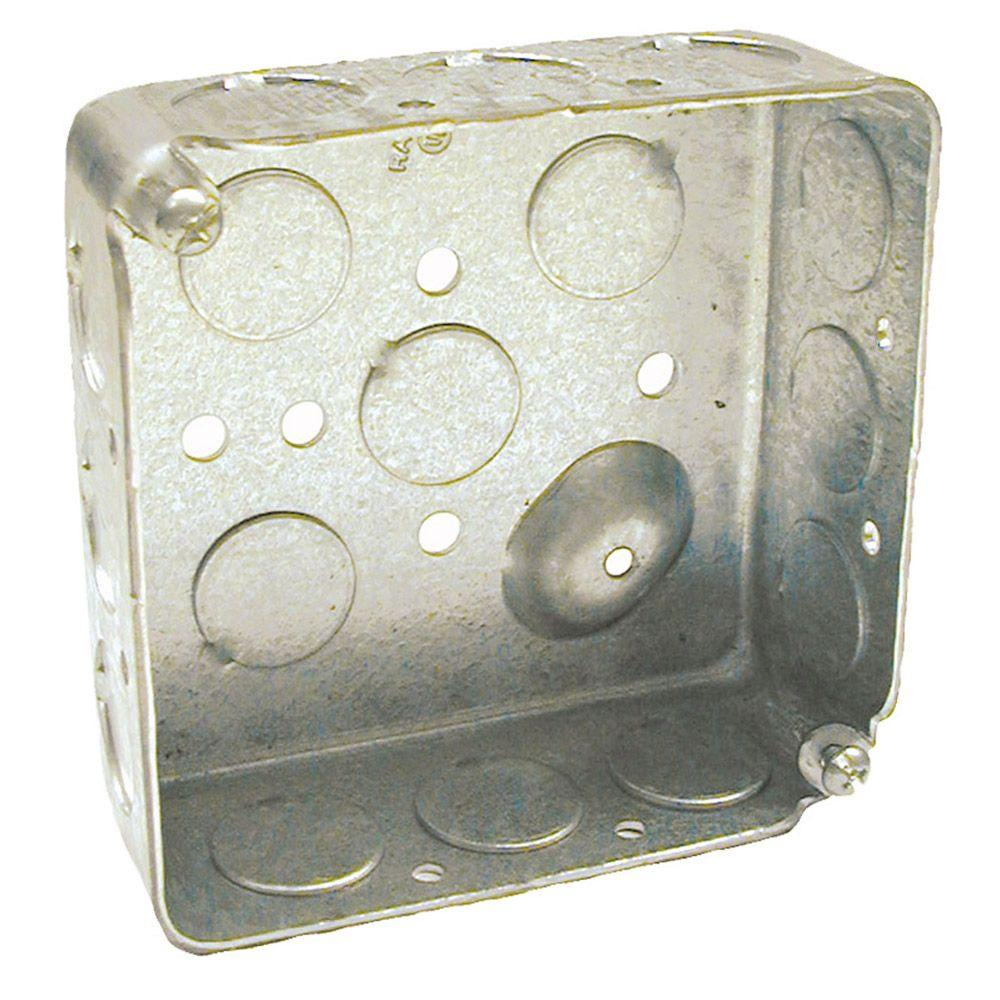 raco 4 in square drawn box 1 1 2 deep with 1 2 ko s 50 pack 8190