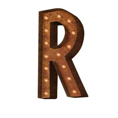 24 in. High Rusted Steel Alphabet Letter R Plug-In Marquee Lights