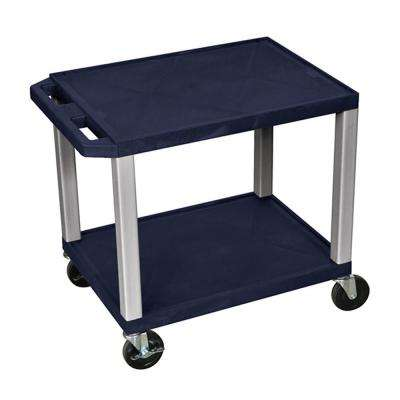 WT 26 in. H Cart with 2-Shelves, Navy Shelves and Nickel Legs