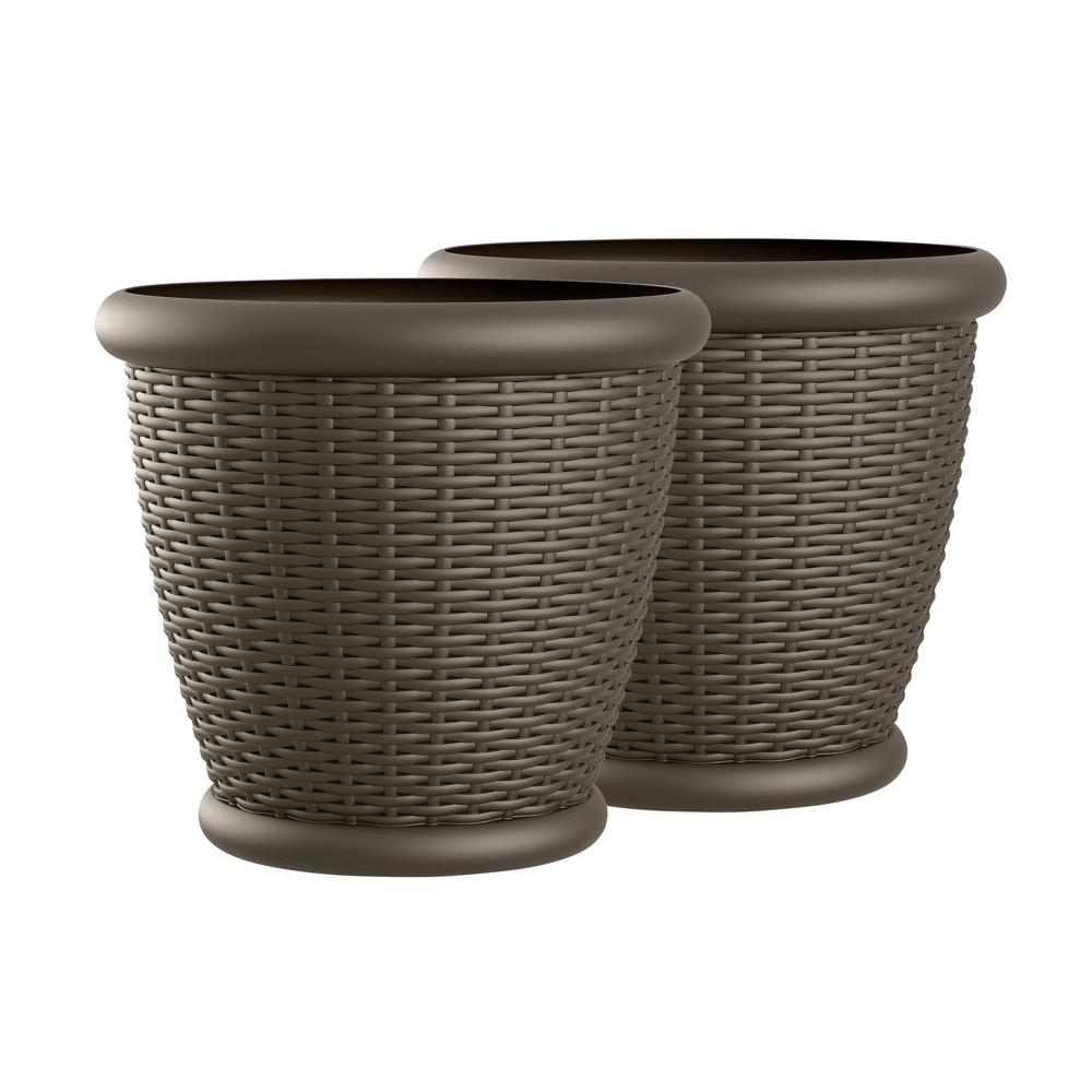 Suncast Willow 18 in. Round Java Blow Molded Resin Planter (2-Pack)