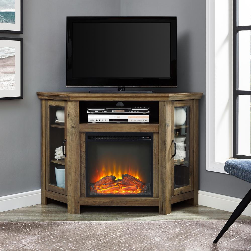 52 in. Rustic Oak Classic Traditional Wood Corner Fireplace Media TV