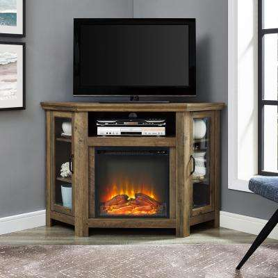 52 in. Rustic Oak Classic Traditional Wood Corner Fireplace Media TV Stand Console