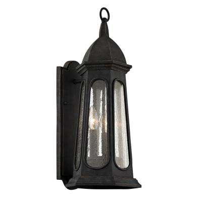 Astor 3-Light Vintage Iron 21.75 in. H Outdoor Wall Mount Sconce with Clear Seeded Glass
