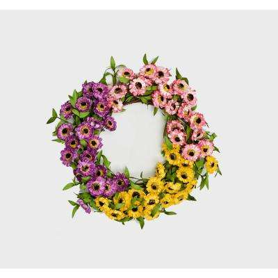 20 in. Mixed Daisy Wreath