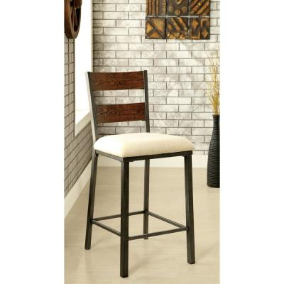 Faven 25 in. Weathered Oak Upholstered Counter Height Chair (Set of 2)
