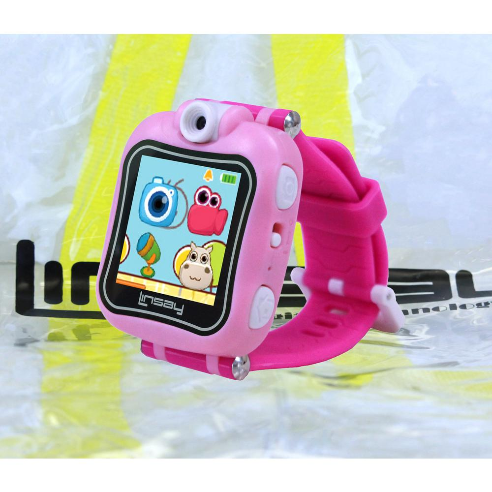 LINSAY 1.5 in. Smart Watch Kids Cam Selfie with Bag Pack, Pink