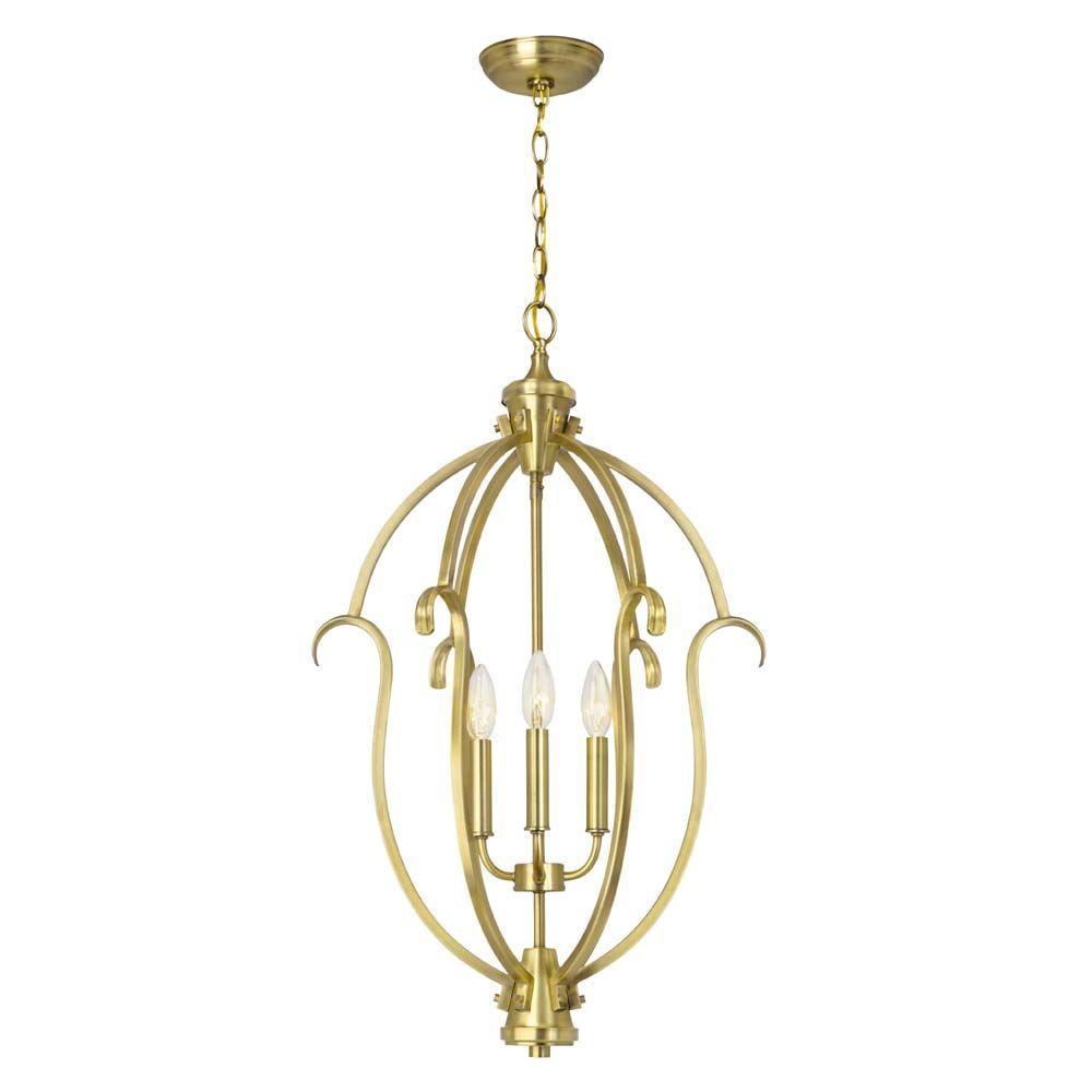 Hampton Bay Sherwood 3-Light Brushed Brass Hanging Pendant-HB3432-02 ...