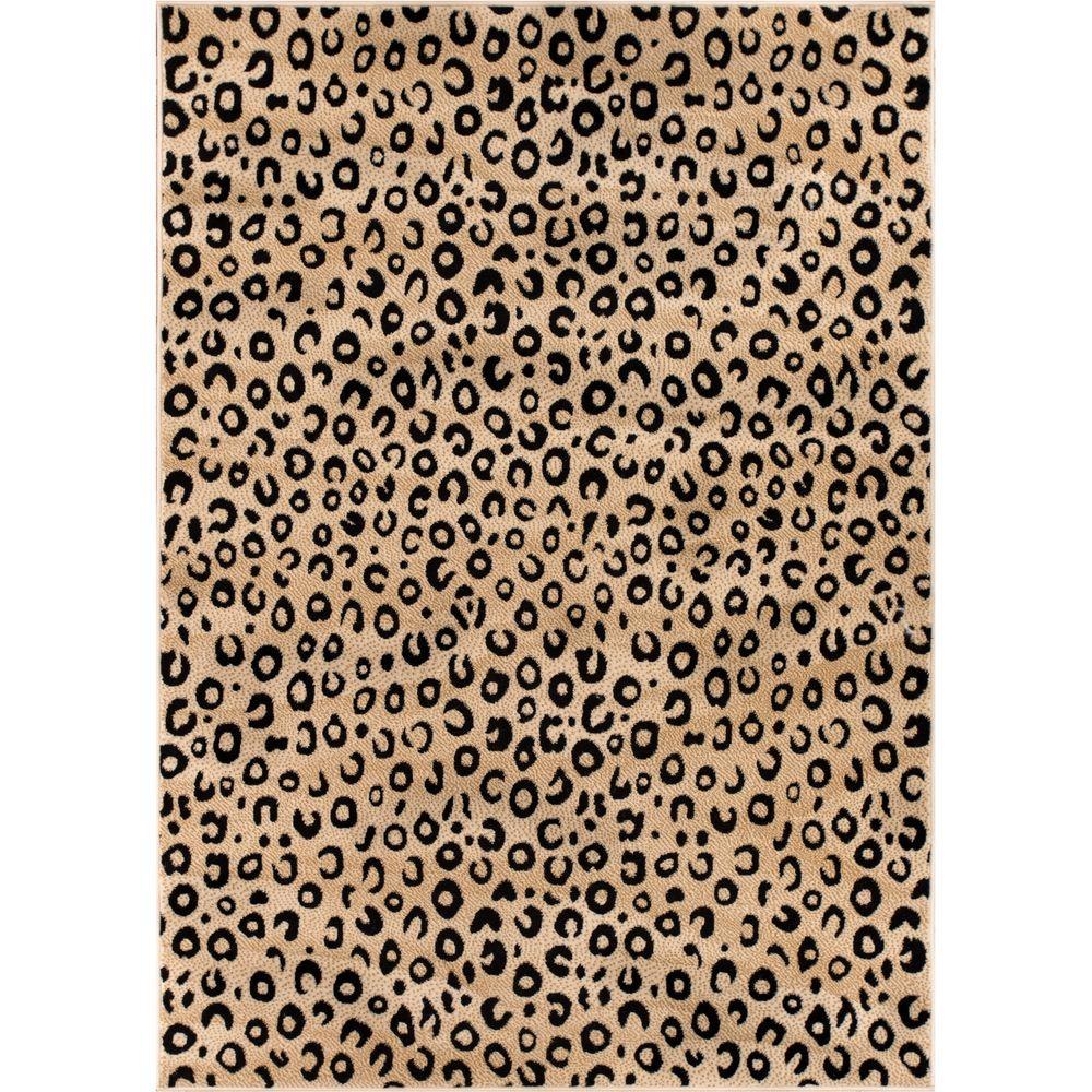 Dulcet Leopard Black 3 Ft X 5 Modern Animal Print Area Rug